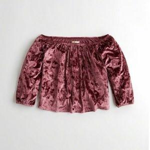 Pink crushed velvet off the shoulder shirt S